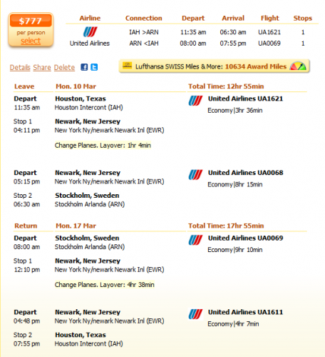 Houston to Stockholm flight details
