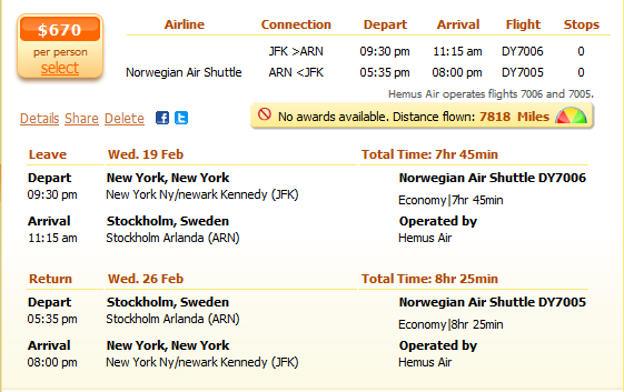 New York to Stockholm flight details