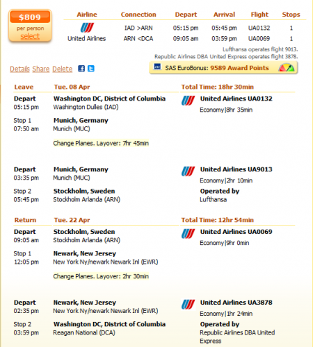 Washington to Stockholm flight details